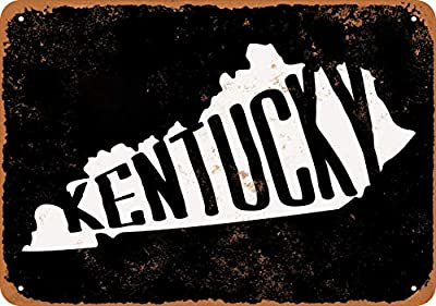 Wall-Color 10 x 14 Metal Sign - Kentucky Set 2 (Black Background) - Vintage Look
