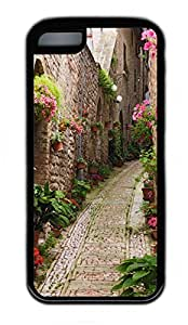 iPhone 5C Case, Personalized Protective Rubber Soft TPU Black Edge Case for iphone 5C - Flowers Load Cover