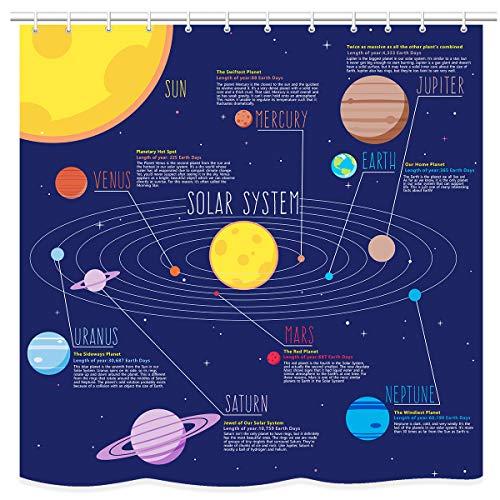 UNIFEEL Solar System Planets Stars and Milky Way Galaxy Space Fabric Astronomical Shower Curtain with The Sun Mercury Venus Earth Mars Jupiter Saturn Uranus Neptune Cosmos Nebula Dark Blue ()