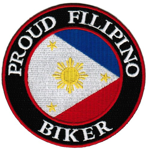 (Proud Filipino Biker Embroidered Patch Philippines Flag Pinoy Iron-On Motorcycle)