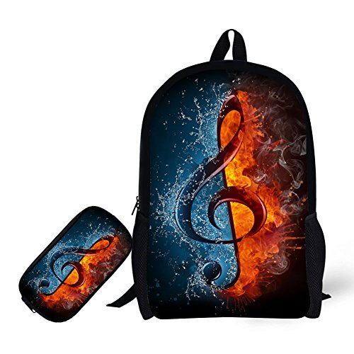 Ball Music Book - School Backpack, with Pencil Bag Sport Football Design 17