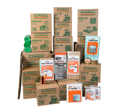 (U-Haul Household Moving Kit - 36 Boxes, 2 Wardrobe Boxes, Tape, and Assorted Packing)