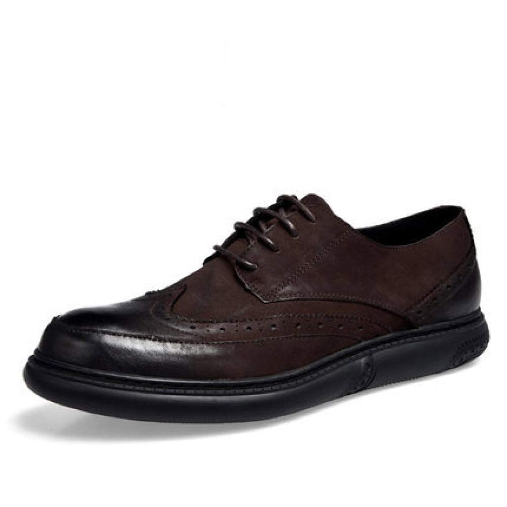 GHCX Schuhe Herren Martin Stiefel Herbst Winter Atmungsaktiv Geschnitzt Lässig Lederschuhe Rutschfeste Mode Echtes Leder,braun-42