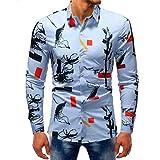 iLXHD Man Fashion Printed Blouse Casual Long Sleeve Slim Shirts Tops (3XL, Multicolor 10)