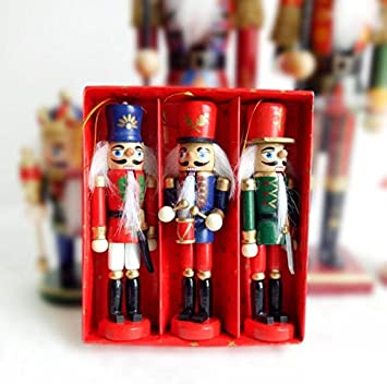 fyue christmas gift xmas decoration wooden soldiers small tin set of 6pcs - Christmas Decorations Wooden Soldiers