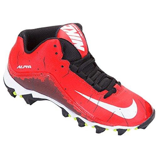 Nike Mens Alpha Shark 2 Three-Quarter Football Cleat University Red/Black/White Size 9.5 M US