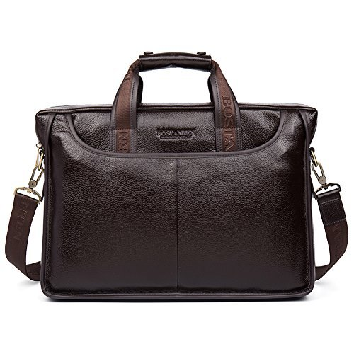 (BOSTANTEN Leather Briefcase Handbag Messenger Business Bags for Men Brown )