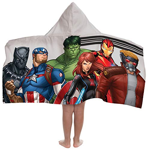 Marvel Avengers Super Soft & Absorbent Kids Hooded Bath/Pool/Beach Towel, Featuring Spiderman & Black Panther-Fade Resistant Cotton Terry Towel 22.5