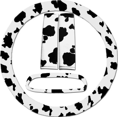 Black and white cow steering wheel cover, seat belt covers and rear view mirror cover. (Cow Seat Covers)