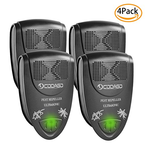 Pest Control Ultrasonic Repellent, CooAgo Plug In Pest Repeller for Mosquito Cockroaches Bugs Ants Mice Spiders Flies and Insects, Non-toxic, Humans & Pets Safe (Pack of 4)