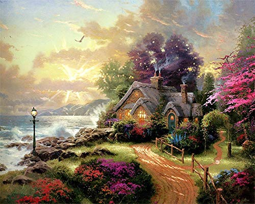 (Paint by Numbers Kits for Adults Children Seniors Junior Beginner Acrylics DIY Oil Painting Kits Seaside Cottage View-Wooden Frame )