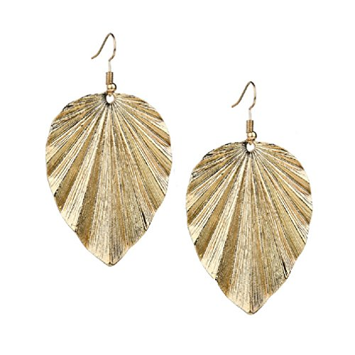 Gold Leaf Drop Earrings Women Girls Jewelry for Casual Wear or Formal Dress