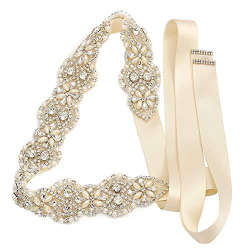 Yanstar Wedding Bridal Belts In Silver Gold Rhinestone Crystal Pearl With Ivory Sash For Wedding Dress Prom Gown-17.7In1.6