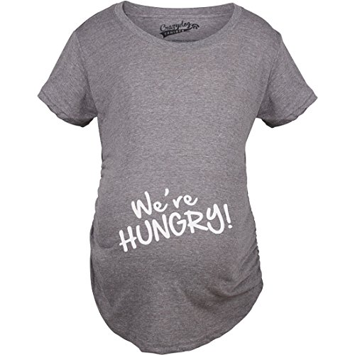 Maternity We're Hungry Funny Baby Bump Pregnancy Announcement T Shirt (Grey) M - Maternity Graphic Tees