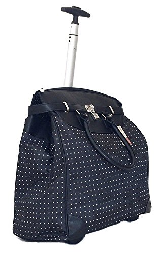 Trendy Flyer Computer/laptop Bag Tote Duffel Rolling Wheel Case Purse Tablet (Polka Dots Black Trim) ()