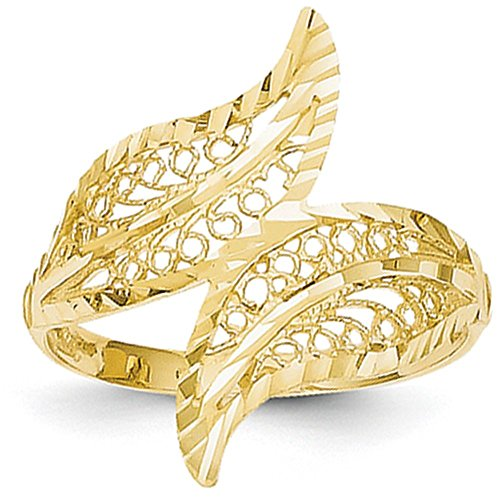 Gold Leaf Color Pendant Tri - 14k Yellow Gold Filigree Leaf Bypass Ring (22mm Width) - Size 8.5