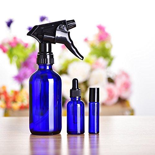 Firlar Spray Botellas de Vidrio, 3 unidades de azul vacío rellenable botella de spray de cristal para aceites esenciales para productos de limpieza, ...