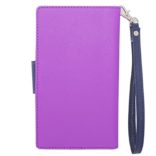 HJ POWER[TM] BlackBerry Leap CT2 Leather PU WALLET POUCH Cover + [Free HJ POWER Stylus] WPUNI5CT2-Blue Purple