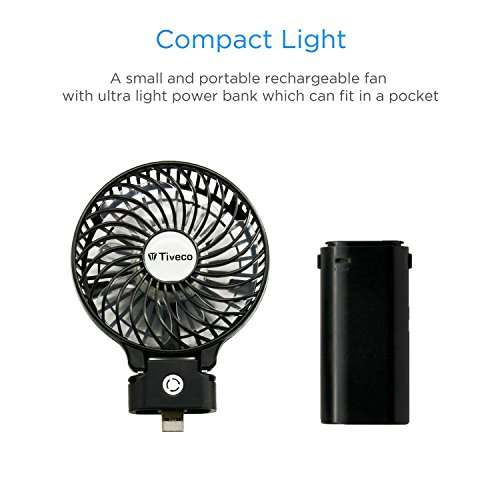 Tiveco Portable Handheld USB Rechargeable Fan With 3000mAh Power Bank - V2 Black by Tiveco (Image #5)