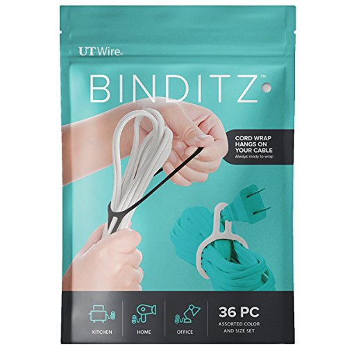 UT Wire Attachable Binditz Silicon Cable Wrap for Home Kitchen Small Appliances Computer Hair Dryer Cords in White/Black Set of 36 Assorted Sizes (UTW-R36-01)
