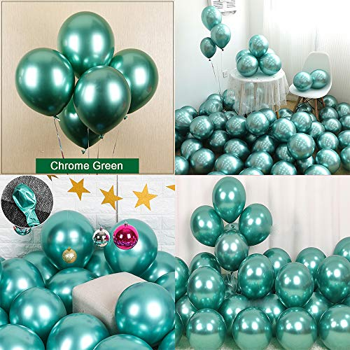 (Chrome Metallic Balloons for Party 50 pcs 12 inch Thick Latex balloons for Birthday Wedding Engagement Anniversary Christmas Festival Picnic or any Friends & Family Party Decorations-Metallic Green)