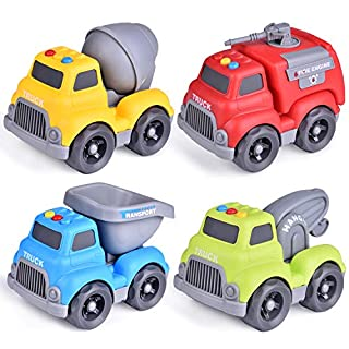 FUN LITTLE TOYS Construction Vehicles Truck Toys Set for Toddlers, 4 PCs Push and Go Construction Truck ( Cement Mixer, Tow Truck, Dump Truck, Fire Truck), Baby Toy Cars, Gifts for Boys
