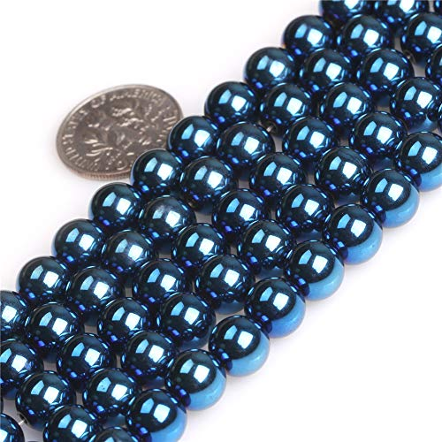 (JOE FOREMAN Blue Metallic Coated Magnetic Hematite Gemstone Beads for Jewelry Making Strand 15