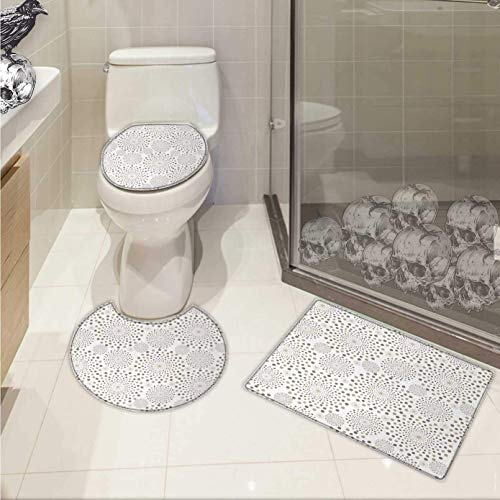 Geometric 3 Piece Toilet mat Set Geometrical Floral Patterns Dots Monochromic Classic Nostalgia Circles Printed Rug Set Warm Taupe Cocoa -