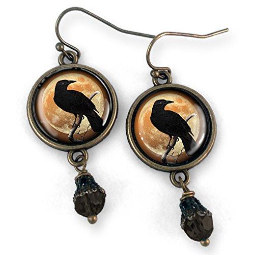 Crow or Raven silhouette on Orange Moon Earrings ()