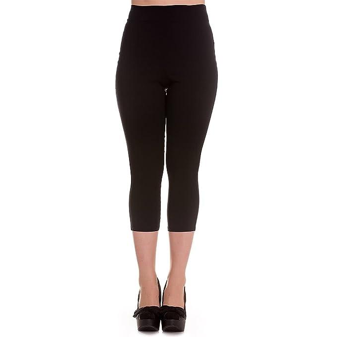 Hell Bunny Tina Capris Pantalones Mujer Negro FIrm0kzHVv