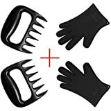 BOGZON Bear Barbecue Meat Forks/Claws for Shredding Pork and Beef ( Set of 2, Black) Plus Silicone Oven Gloves for BBQ, Baking (Set of 2, Black), a Perfect Combination for BBQ and Baking
