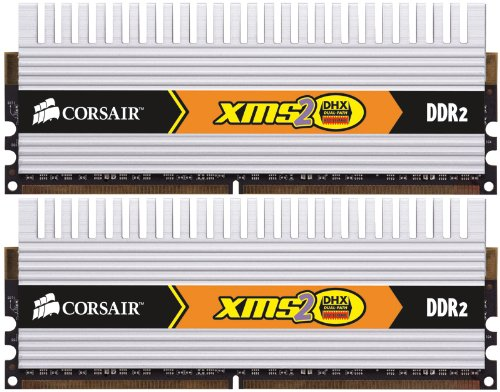 (Corsair TWIN2X2048-6400C5DHX XMS2 DHX 2 GB 2 X 1 GB PC2-6400 800Mhz 240-pin DDR2 Dual Channel Memory Kit)