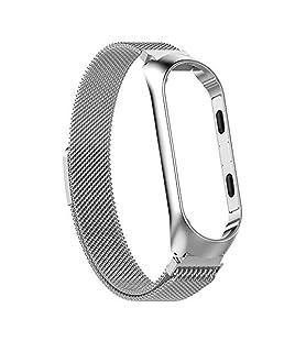 SMIRK SUMER para Xiaomi Mi Band 3 Fitness Tracker Banda de Reloj, Magnet Lock Quick Release Loop Reemplazo de Acero Inoxidable Bandas de Correa de Reloj