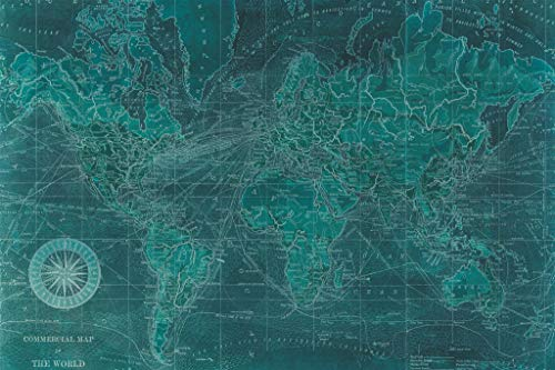 Empire Art Direct Azure World Map Frameless Free Floating Tempered Glass Panel Graphic Teal Wall Art, 48