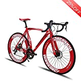 VTSP Upgrade XC700 Road Bike Red Road Bicycle For Man 56CM 700C 14 Speeds Mechanical Disc Brakes Bicycle Gifts For Man Black Friday Promotion Ships From US Warehouse (Red)