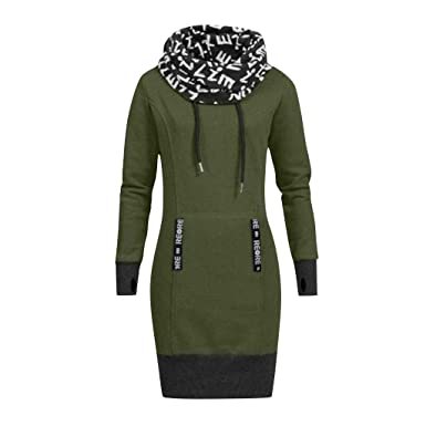 382465968da4 Leey Damen Mode Hoodie mit Zip Langarm Pullover Jumper Pulli Sweatshirt  Jumper Sweatkleid 4 Farben