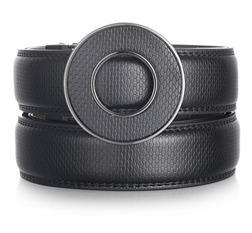 Marino Ratchet Click Belts for Men - Mens Comfort Genuine Leather Dress Belt - Automatic Buckle - Black - Adjustable from 28