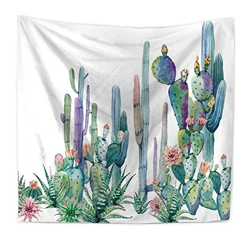 Vanitale Cactus Tapestry Various Watercolor Green Succulent Plants Flowers Prints Wall Hanging Tapestries, 60 by 80 Inches (Succulent -