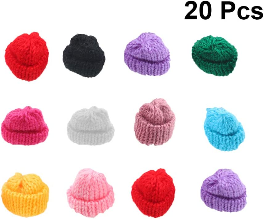 JETEHO 20 Pack Assorted Color Mini Felt Top Hats for Miniature Work DIY Hair Accessories Crafts