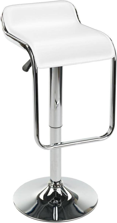 Displays2go Adjustable Modern Bar Stool with Footrest, Rotates White BRSTLPUB2W