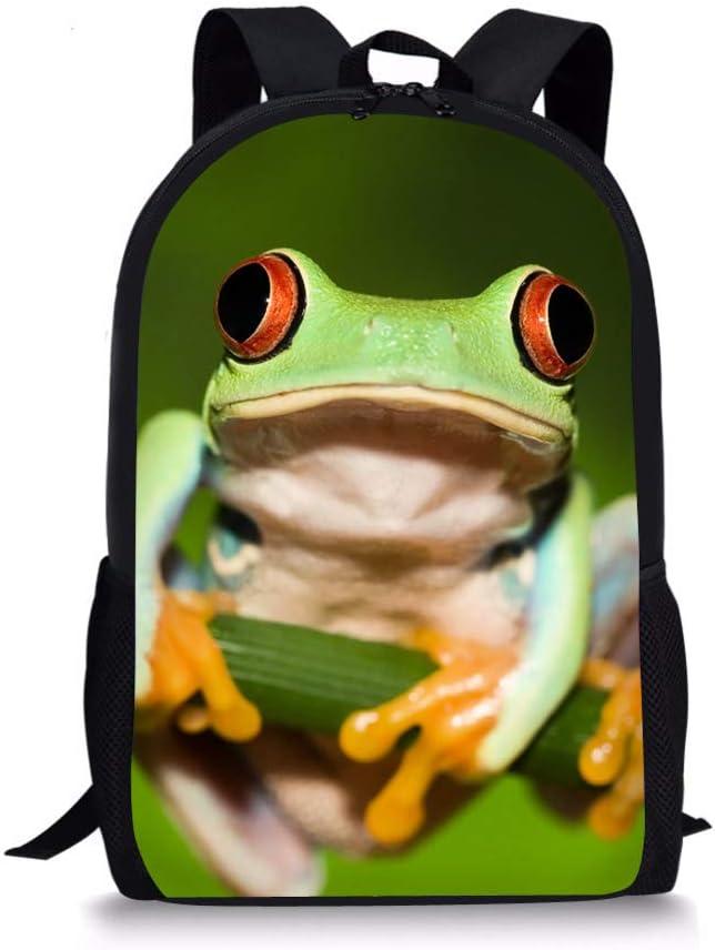Mochila Nopersonality con estampado de animales en 3D para la escuela primaria, para niñas y niños, rana (Verde) - Nopersonality