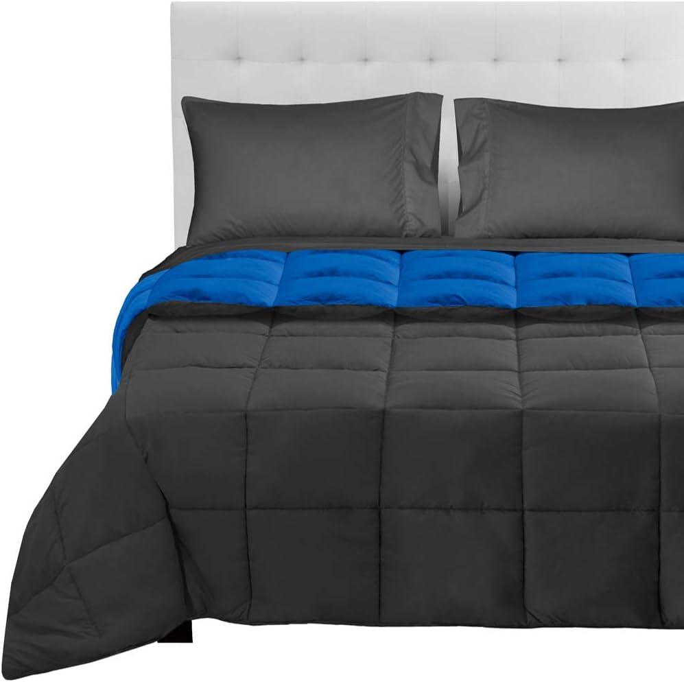Bare Home Reversible Bedding Set 4 Piece Comforter & Sheet Set - Twin Extra Long - Down Alternative - Ultra-Soft - Hypoallergenic - Breathable Bedding Set (Twin XL, Medium Blue/Grey, Grey)