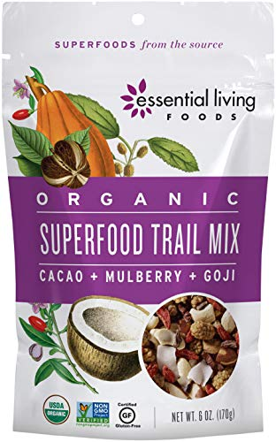 Essential Living Foods Organic Superfood Trail Mix, Figs, Mulberries, Goji Berries, Coconut, Cashews, Brazil Nuts, Cacao Nibs, Vegan, Superfood, Non-GMO, Gluten Free, 6 Ounce Resealable Bag (Essential Raw Living Almonds)