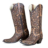 Corral Women's Full Overlay Boot Snip Toe Brown 9 M