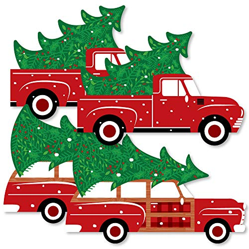 Merry Little Christmas Tree - Decorations DIY Red Truck and Car Christmas Party Essentials - Set of -