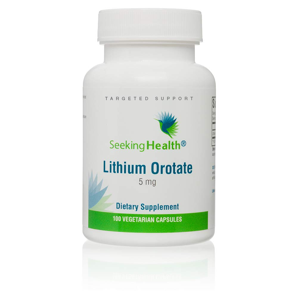 Seeking Health | Lithium Orotate | Lthium Supplement | 5 mg | 100 Vegetarian Capsules | Free of Common Allergens