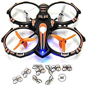 RC Stunt Drone Quadcopter w/ 360 Flip Crash Proof for Kids & Beginner, 2.4GHz, 4 CH, 3 Blade Propellers, Extra Drone Battery for Extended Fly Time w/ Practice Landing Pad, 2 USB Charger & Spare Parts