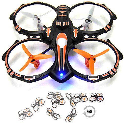 Cheap RC Stunt Drone Quadcopter w/ 360 Flip: Crash Proof, 2.4GHz, 4 CH, 3 Blade Propellers, Extra Drone Battery for Extended Fly Time w/ Practice Landing Pad, 2 USB Charger & Spare Parts