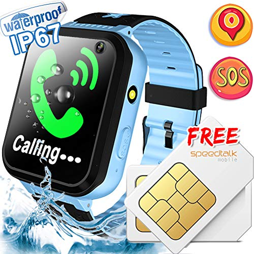 Kids Smart Watch [Free SIM Card] IP67 Waterproof Kids Phone Watch with GPS Tracker SOS Safety Call Anti-Lost Camera Learning Game Toy Children Smartwatch Prime Summer Holiday Gift for Girl Boys, Blue ()