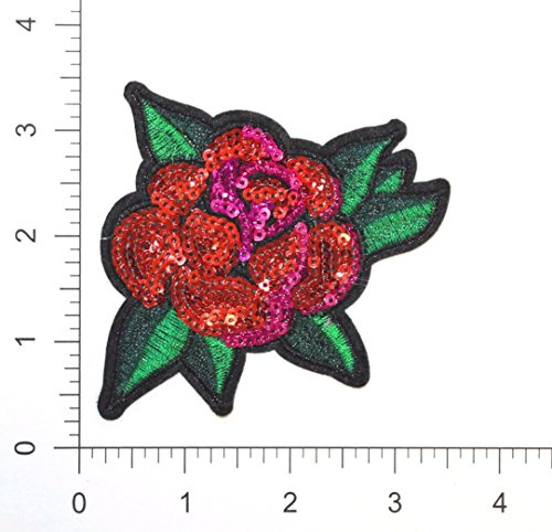 Sequin Rose Flower Patch - Embroidered Iron-On Applique Heat Press - 3.5 x 3.25 (6 Pieces)